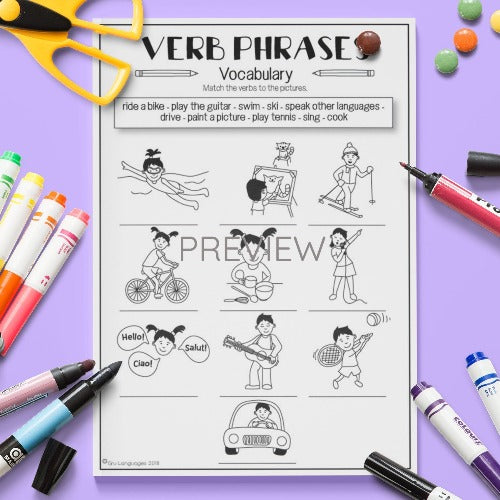 ESL English Kids Verb Vocabulary Worksheet