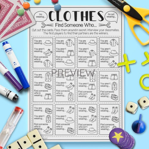 English ESL Kids Clothes Find Someone Who Game Worksheet