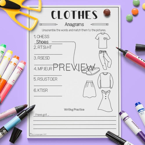 English ESL Kids Clothes Anagram Worksheet