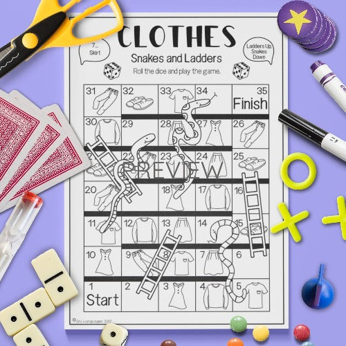 English ESL Kids Clothes Snakes and Ladders Game Worksheet