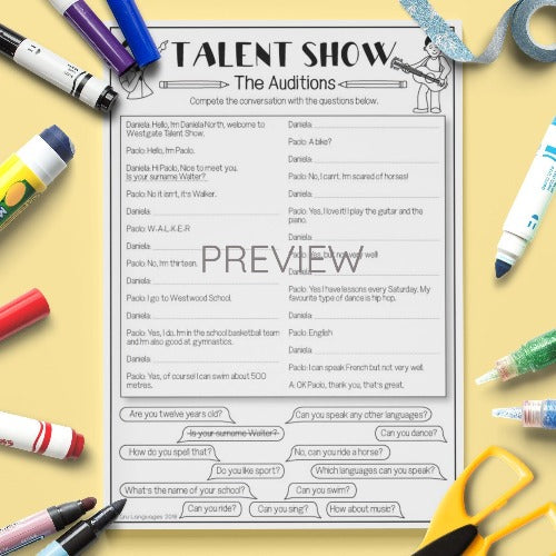 ESL English Kids Verb Talent Show Reading Worksheet