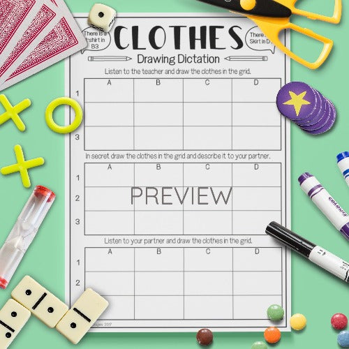 English ESL Kids Clothes Dictation Game Worksheet