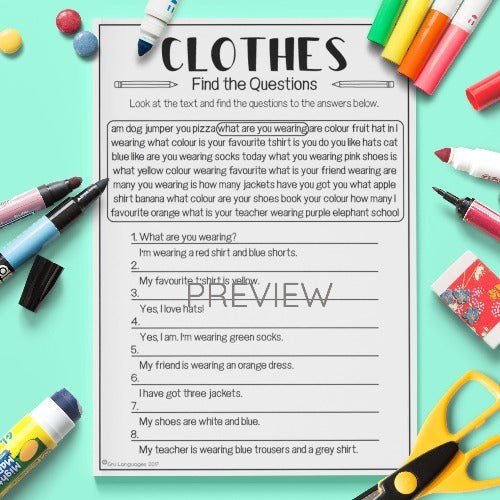 English ESL Kids Clothes Find The Questions Worksheet