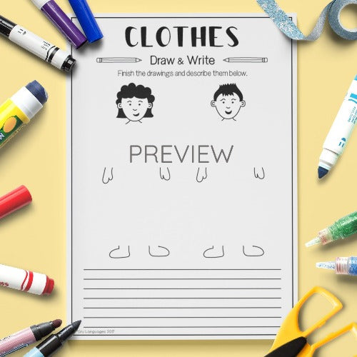 English ESL Kids Clothes Draw and Write Worksheet