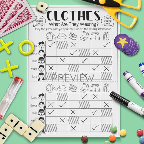 English ESL Kids Clothes What Are You Wearing Game Worksheet