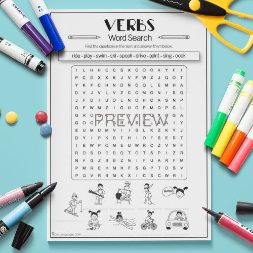 ESL English Kids Verb Word Search Worksheet