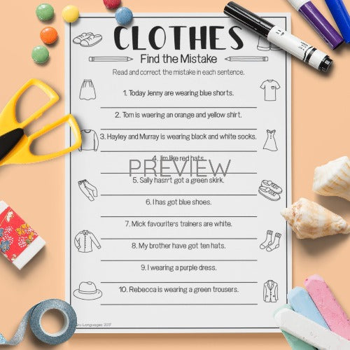 English ESL Kids Clothes Find The Mistake Worksheet