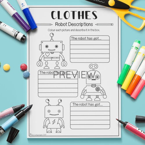 English ESL Kids Clothes Robot Descriptions Worksheet
