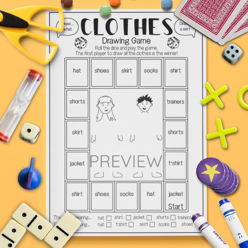English ESL Kids Clothes Drawing Game Worksheet