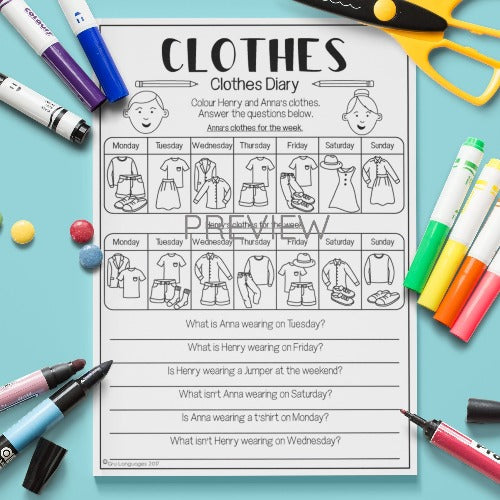English ESL Kids Clothes Diary Worksheet