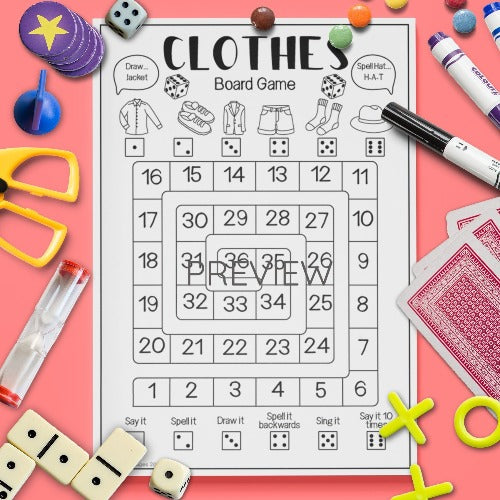 English ESL Kids Clothes Board Game Worksheet