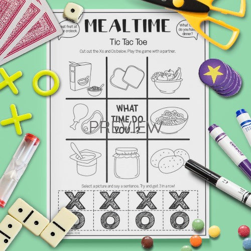 ESL English Kids Mealtime Tic Tac Toe Game Worksheet