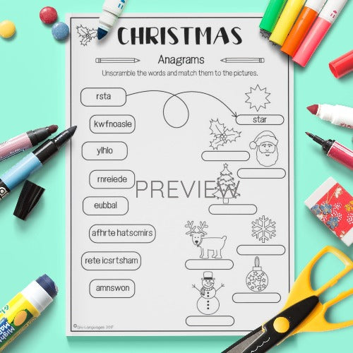 ESL English Kids Christmas Anagrams Activity Worksheet