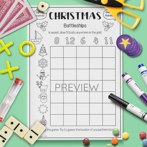 ESL English Kids Christmas Battleships Speaking Game Worksheet