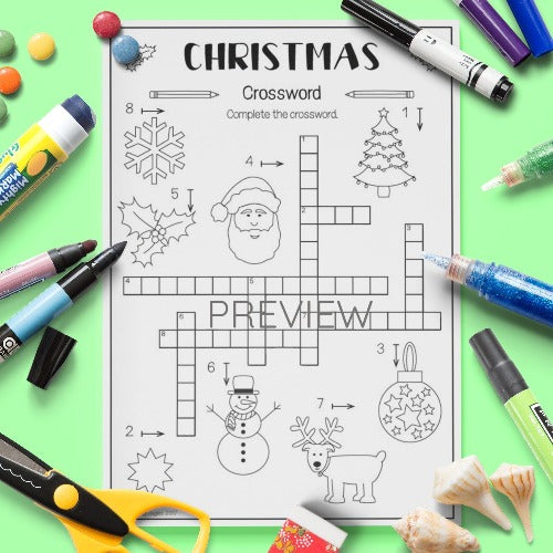 ESL English Kids Christmas Crossword Activity Worksheet