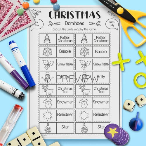 ESL English Kids Christmas Dominoes Game Worksheet