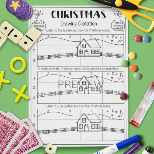 ESL English Kids Christmas Drawing Dictation Game Worksheet