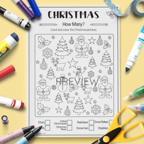 ESL English Kids Christmas How Many? Activity Worksheet