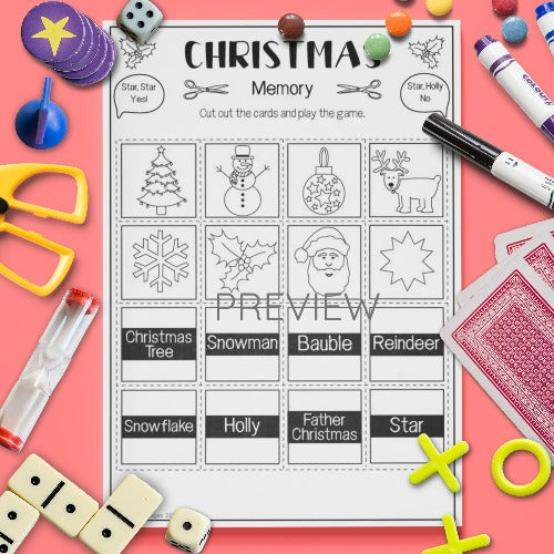 ESL English Kids Christmas Memory Game Worksheet