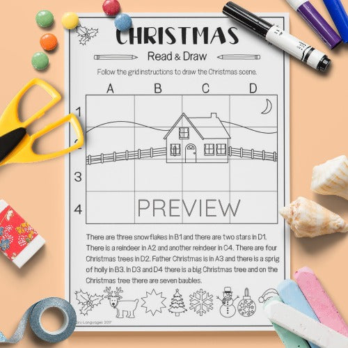 ESL English Kids Christmas Read & Draw Activity Worksheet