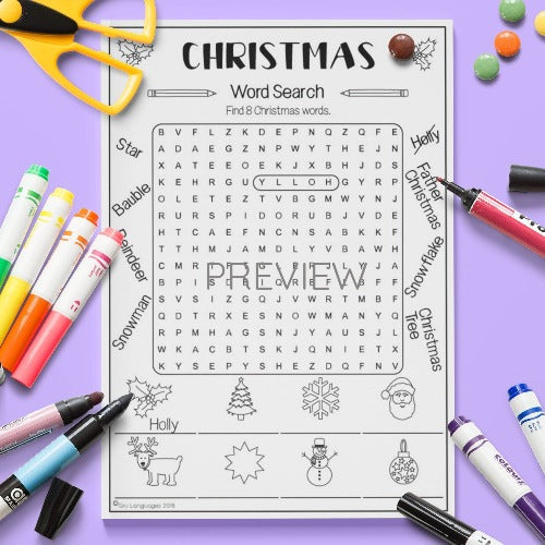 ESL English Kids Christmas Word Search Activity Worksheet