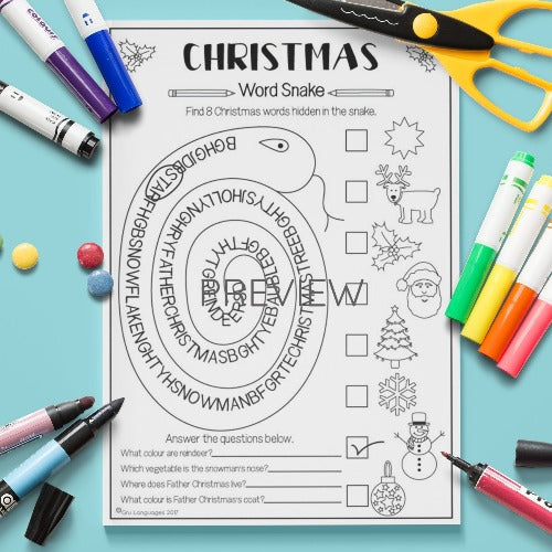 ESL English Kids Christmas Word Snake Activity Worksheet