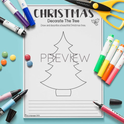ESL English Kids Decorate The Christmas Tree Activity Worksheet