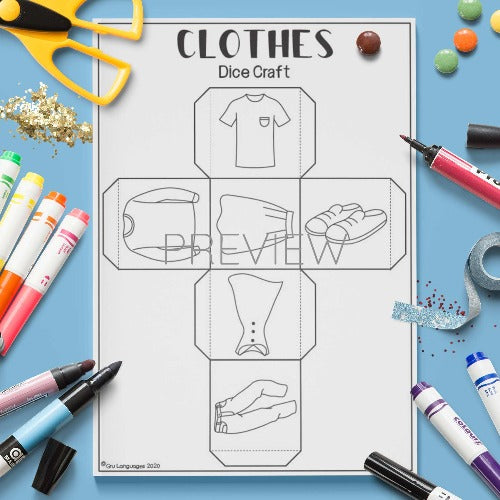 ESL English Clothes Dice Craft Activity Worksheet