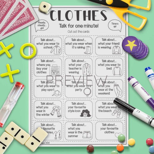 ESL English Kids Clothes Talk For A Minute Cards Worksheet