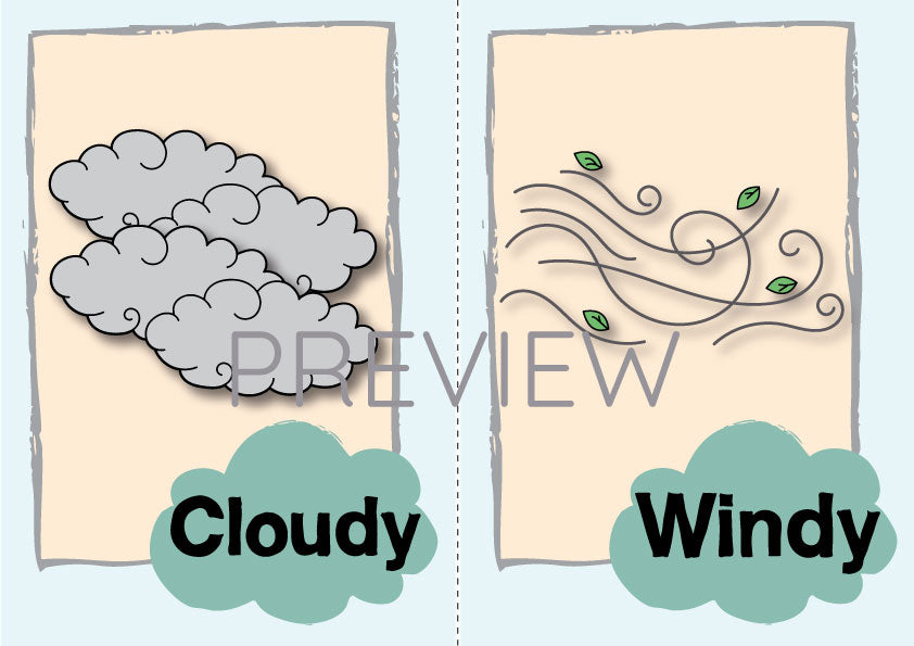 Cloudy and Windy Flashcard
