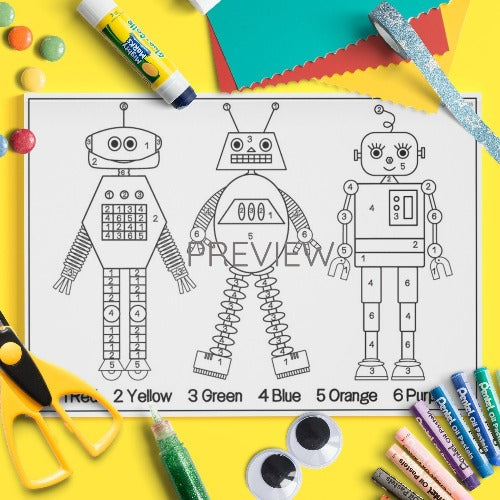 ESL English Kids Face and Body Colour By Numbers Craft Worksheet
