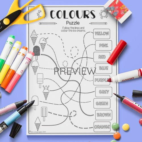 ESL English Kids Colours Puzzle Activity Worksheet