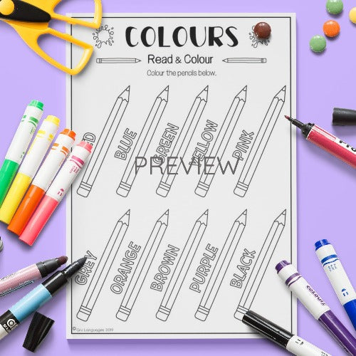 ESL English Kids Colours Read and Colour Activity Worksheet