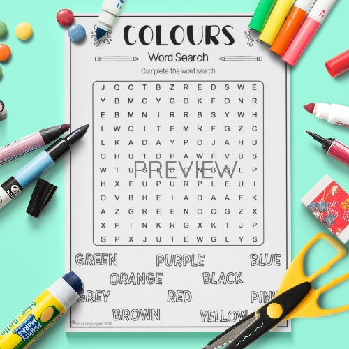 ESL English Kids Colours Word Search Activity Worksheet