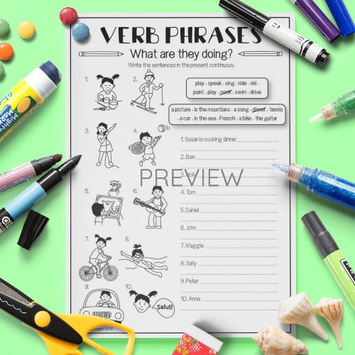 ESL English Kids Verb What Are They Doing? Worksheet