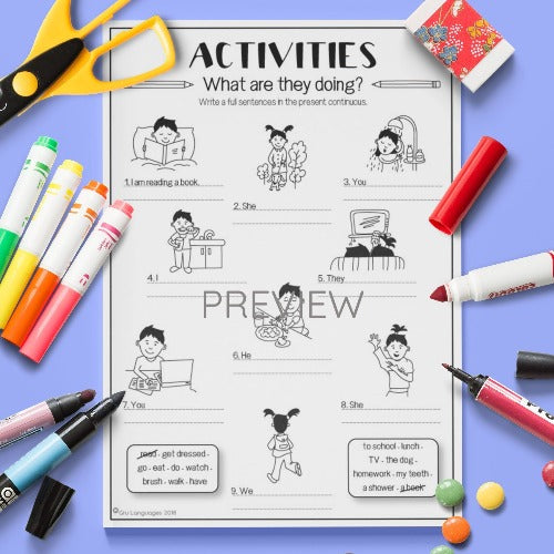 ESL English Kids Verb Activities Worksheet