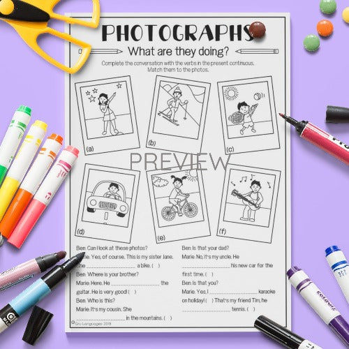 ESL English Kids Verb Photographs Activity Worksheet