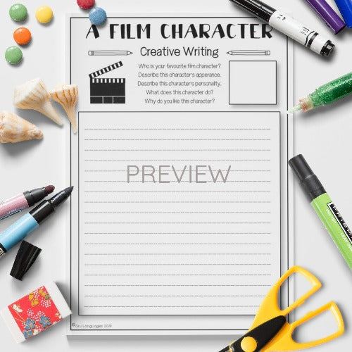 ESL English Kids Film Character Creative Writing Activity