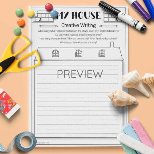 ESL English Kids My House Creative Writing Activity