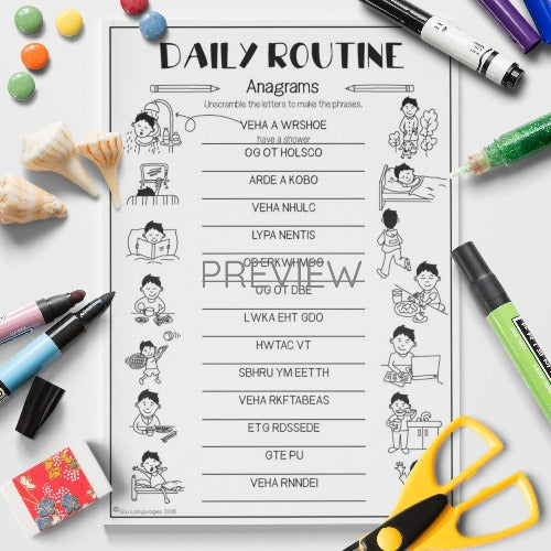 ESL English Kids Daily Routine Anagrams Worksheet