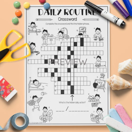 ESL English Kids Daily Routine Crossword Worksheet