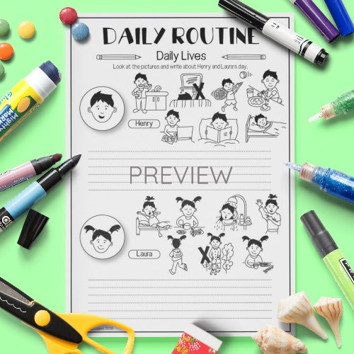 ESL English Kids Daily Routine Daily Lives Worksheet
