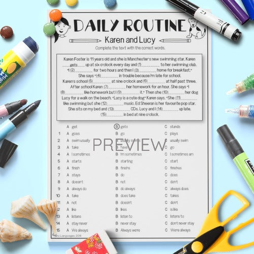 ESL English Kids Daily Routine Reading Comprehension Worksheet