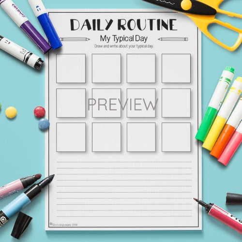 ESL English Kids Daily Routine My Typical Day Worksheet