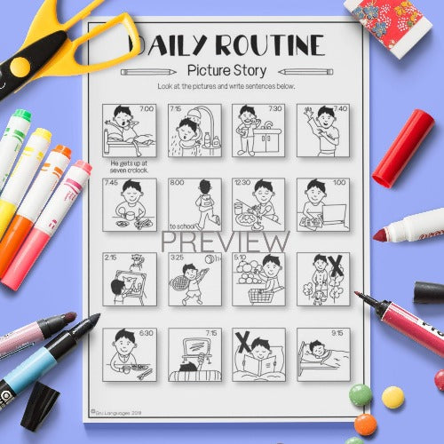 ESL English Kids Daily Routine Picture Story Worksheet