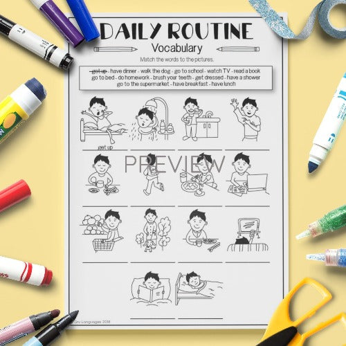 ESL English Kids Daily Routine Vocabulary Worksheet