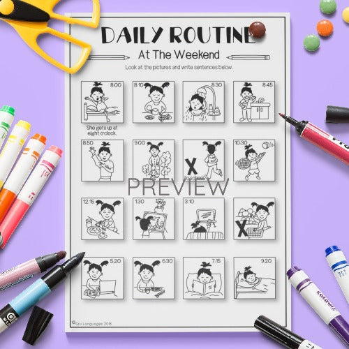 ESL English Kids Daily Routine At The Weekend Worksheet