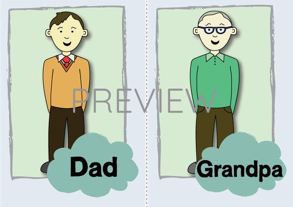 Dad and Grandpa Flashcard