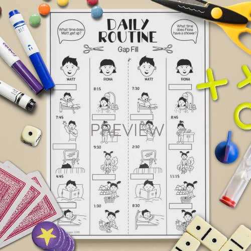 ESL English Kids Daily Routine Gap Fill Game Worksheet