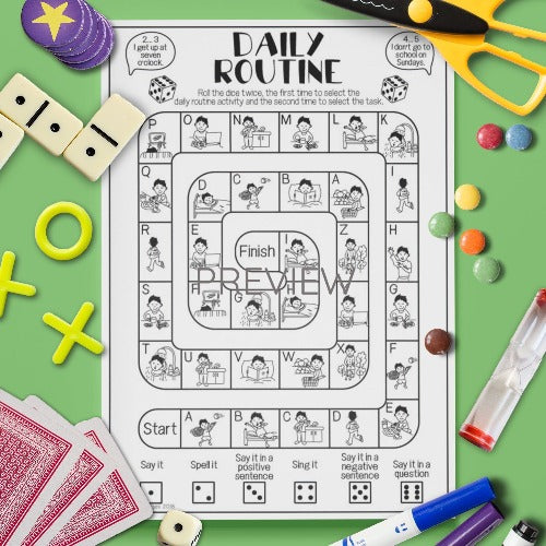 ESL English Kids Daily Routine Board Game Worksheet